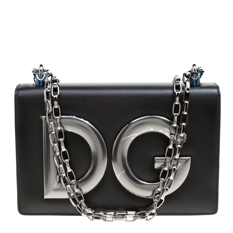b97e9e323092 ... Dolce and Gabbana Black Leather DG Girls Shoulder Bag. nextprev.  prevnext