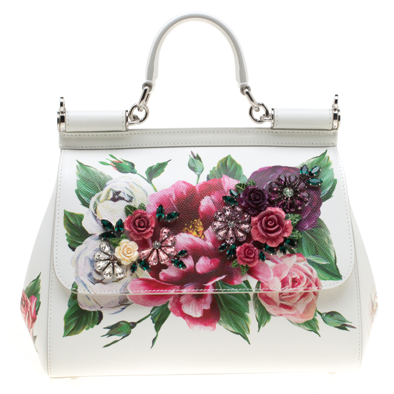 1cd74fb2bbb ... Dolce and Gabbana White Leather Peony Medium Miss Sicily Top Handle  Bag. nextprev. prevnext
