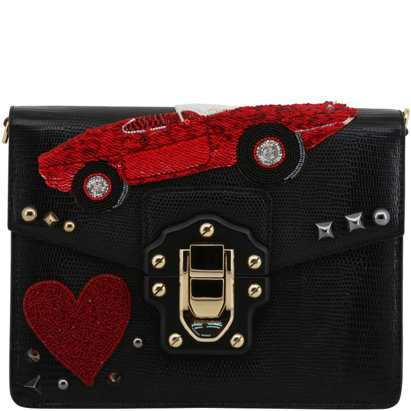 3e6481bacde6 ... Dolce and Gabbana Black Embossed Leather Embellished Lucia Crossbody  Bag. nextprev. prevnext