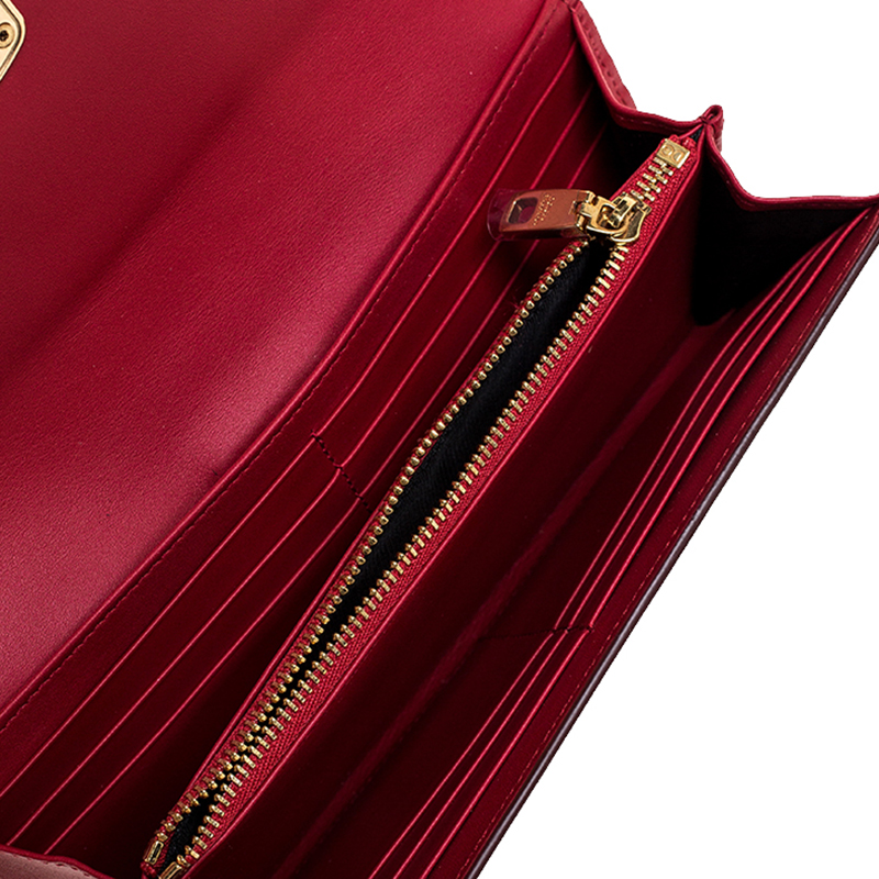 Dolce & Gabbana Red Leather DG Love Continental Wallet