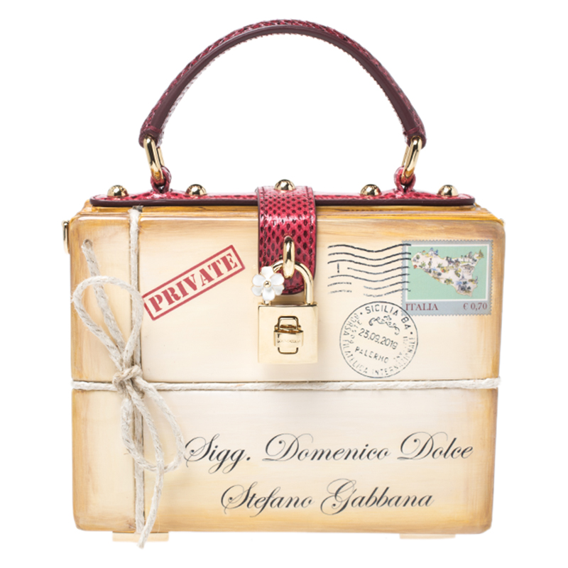 Dolce & Gabbana Multicolor Snakeskin And Plastic Inlaid Wood Top Handle Box Bag
