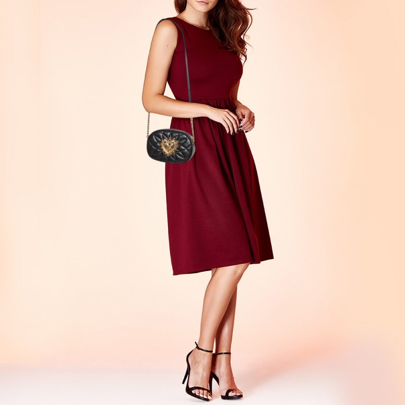 Dolce & Gabbana Blush Black Matelasse Leather Devotion Camera Crossbody Bag