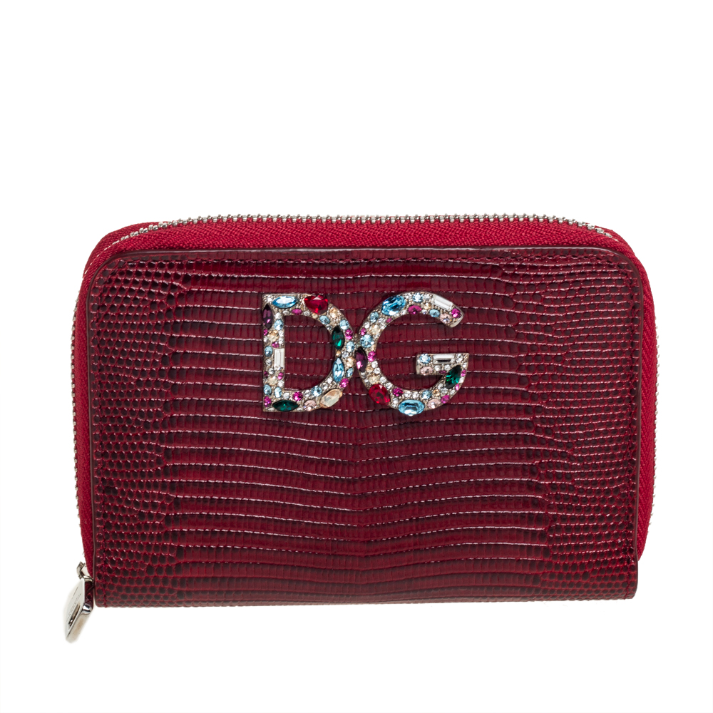 Pre-owned Dolce & Gabbana Red Lizard Embossed Leather Crystal-embellished Wallet