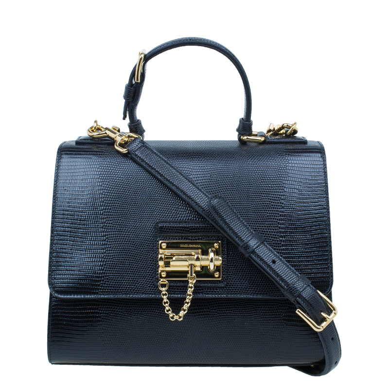 5ec27763e1 Buy Dolce and Gabbana Black Iguana Leather Monica Tote Bag 45414 at ...