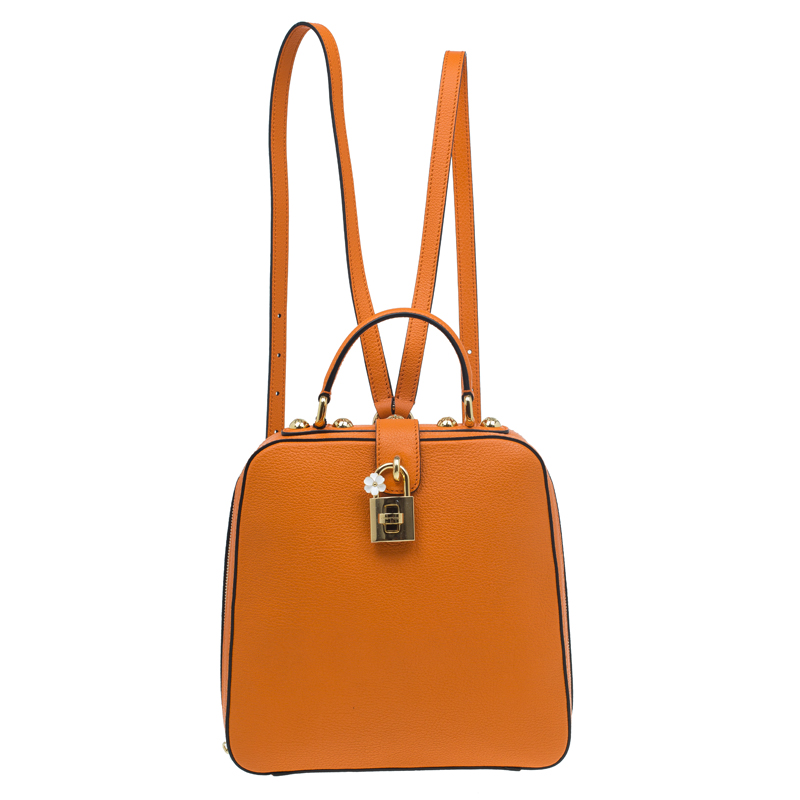 b6f7113cff Buy Dolce and Gabbana Orange Leather Rosaria Backpack 55090 at best price