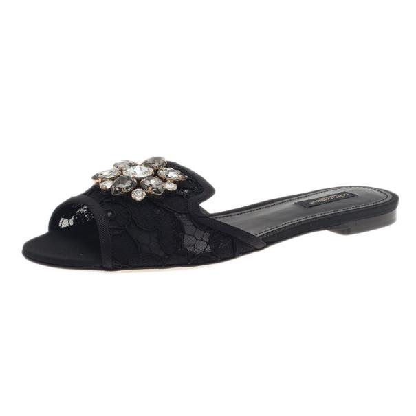 7f6815d80e0d7 ... Dolce and Gabbana Black Lace Sofia Embellished Slides Size 39.5.  nextprev. prevnext