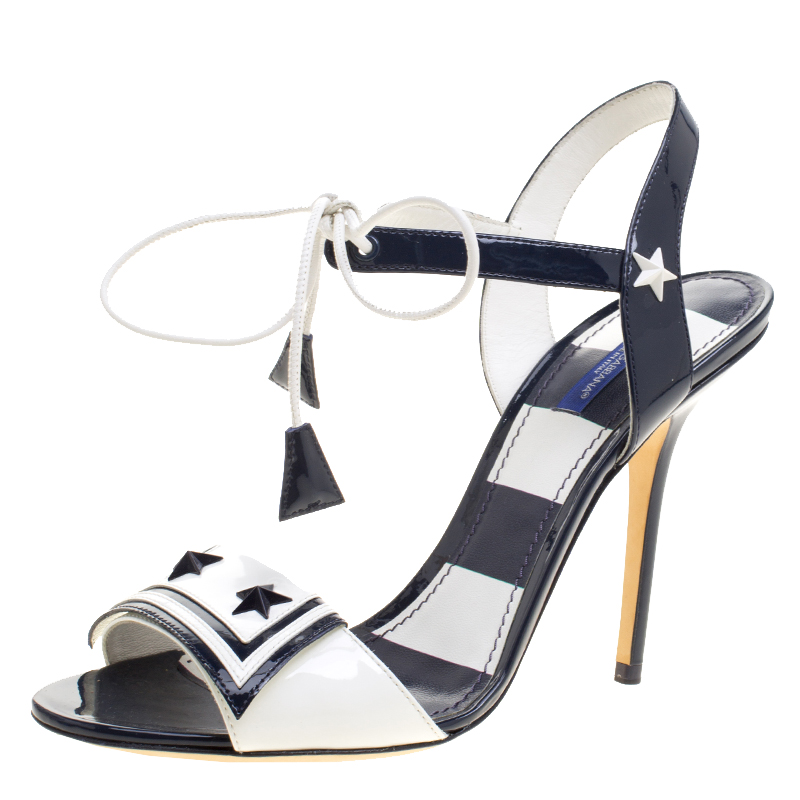35aa31f8a ... White Patent Leather Keira Ankle Tie Open Toe Sandals Size. nextprev.  prevnext