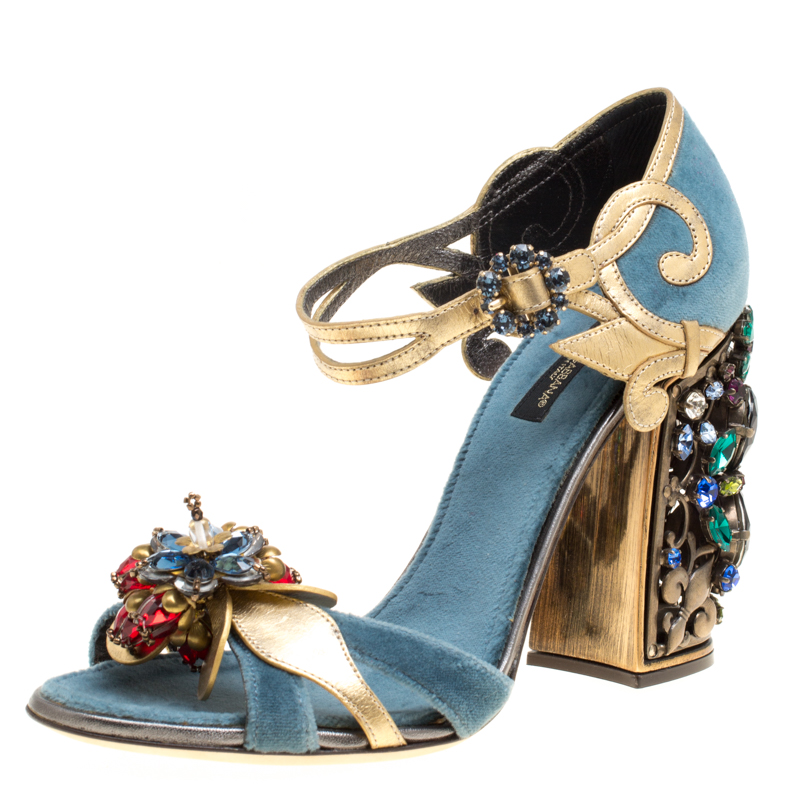 c2c86b5e7945 Buy Dolce and Gabbana Blue Velvet and Metallic Gold Leather Crystal  Embellished Heel Ankle Strap Sandals Size 38 151251 at best price
