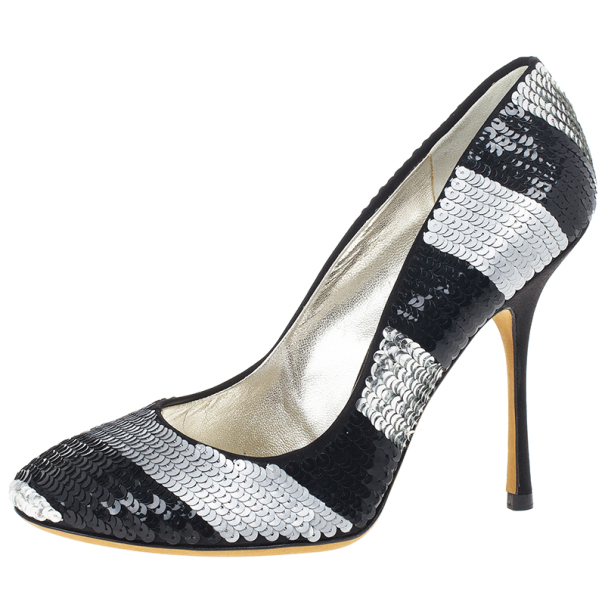 4784ad0cac3 Dolce and Gabbana Black and Silver Sequin Pumps Size 38