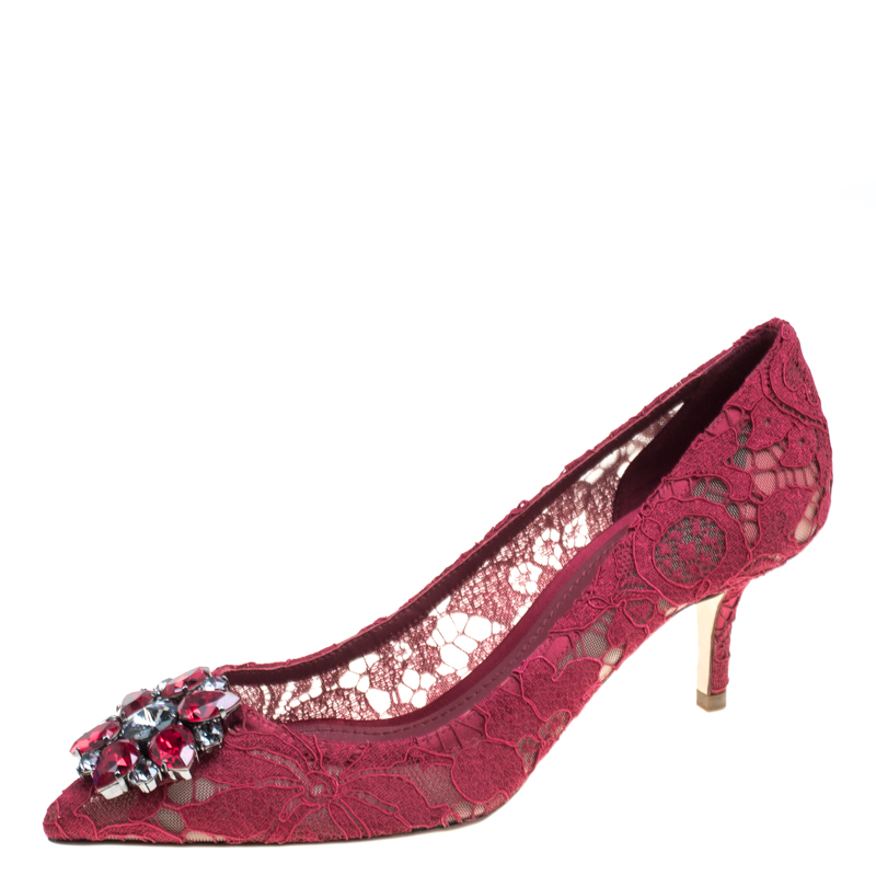 336beeed377 ... Dolce and Gabbana Maroon Lace Bellucci Crystal Embellished Pointed Toe  Pumps Size 38.5. nextprev. prevnext