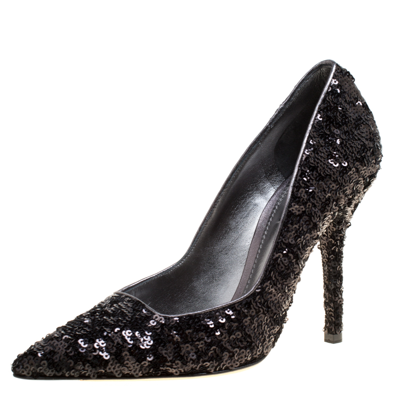 79d0803f282 Dolce and Gabbana Black Sequins Pointed Toe Pumps Size 38
