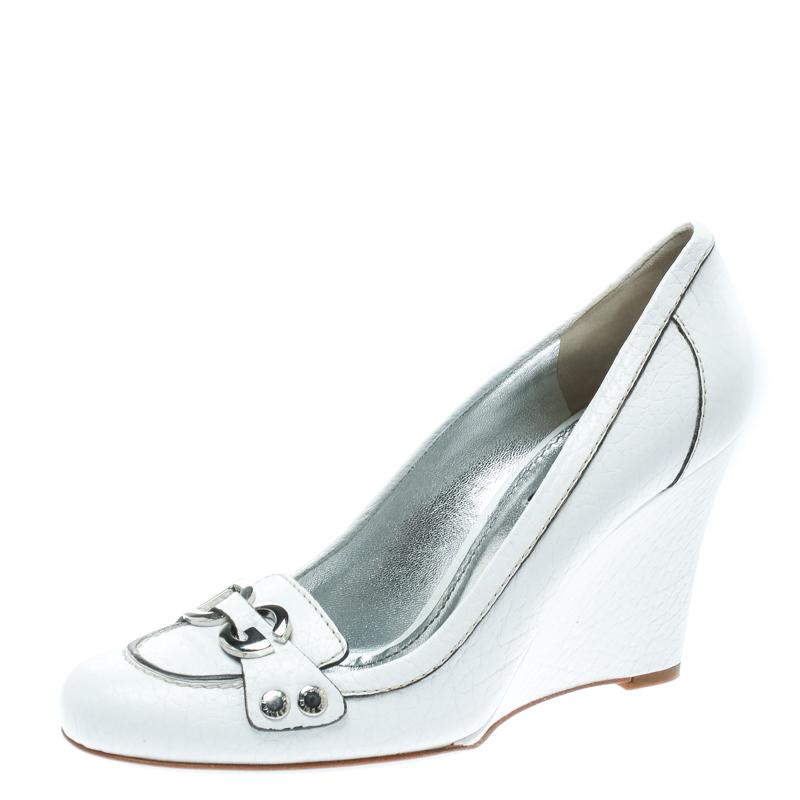Dolce & Gabbana White Leather Logo Detail Wedge Pumps Size 38