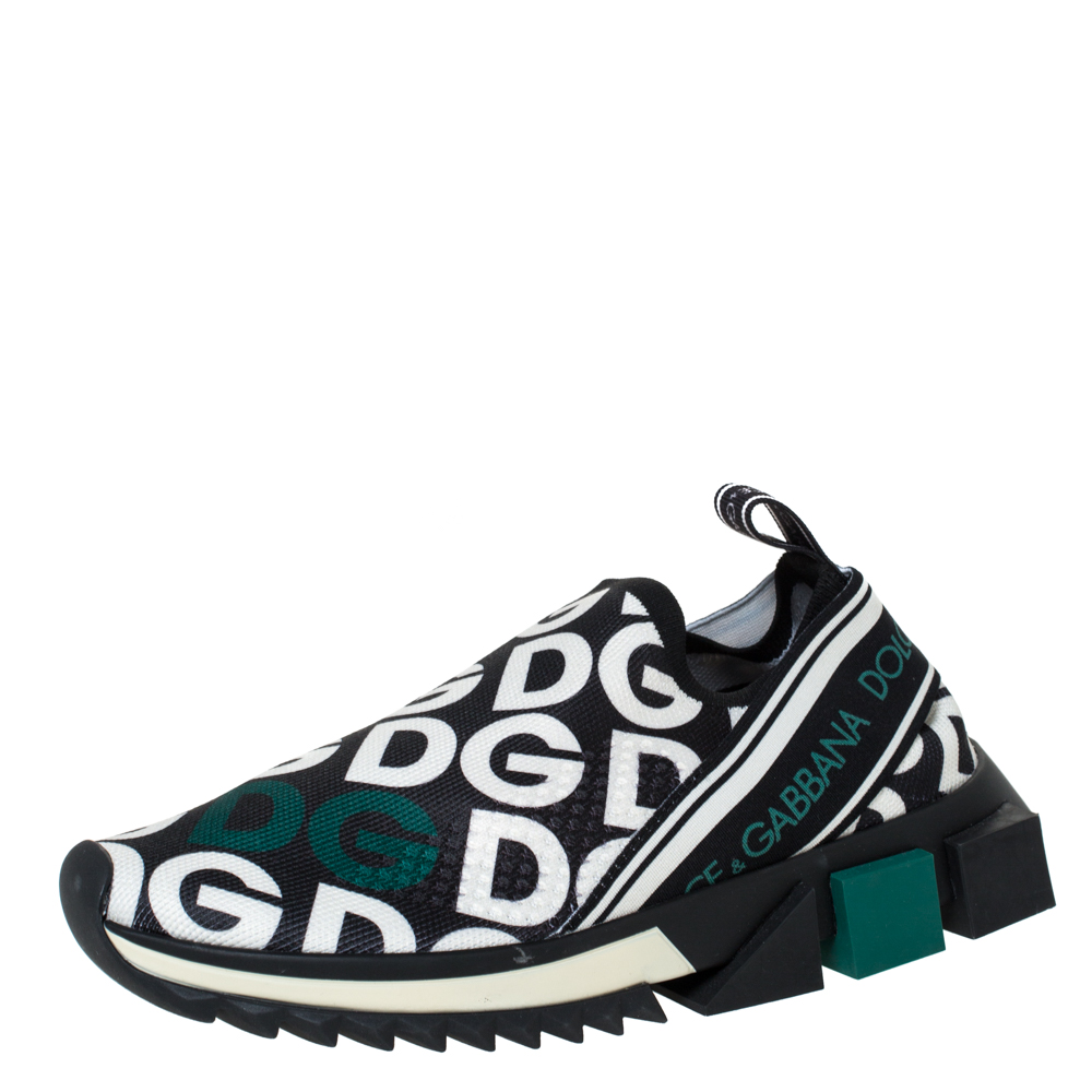 Dolce & Gabbana Multicolor DG Mania Print Stretch Mesh Slip On Sneakers Size 36