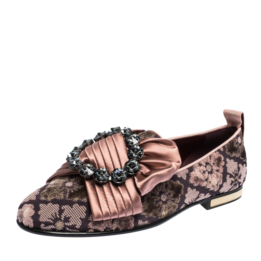 Dolce & Gabbana Pink Jacquard Velvet Bejeweled Bow Ballet Flats Size 39