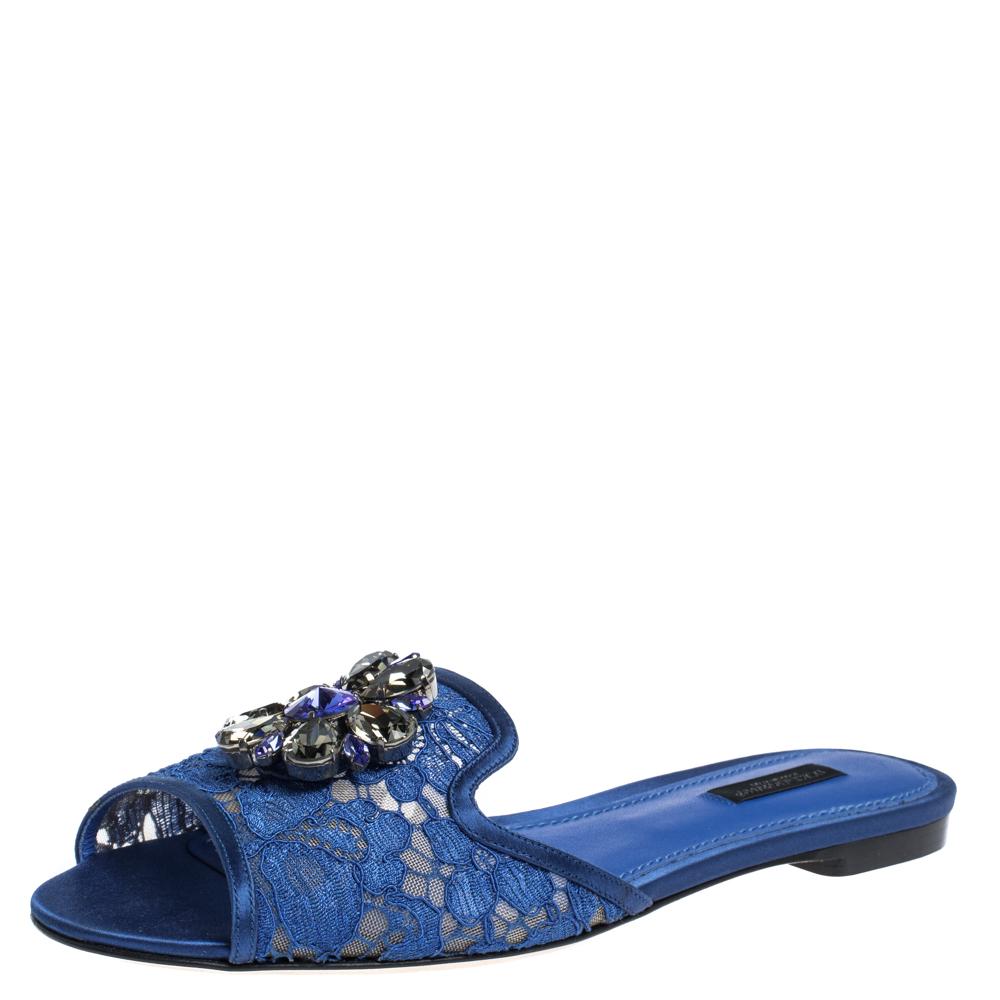Dolce & Gabbana Blue Lace Jeweled Embellishment Flat Slides Size 35.5