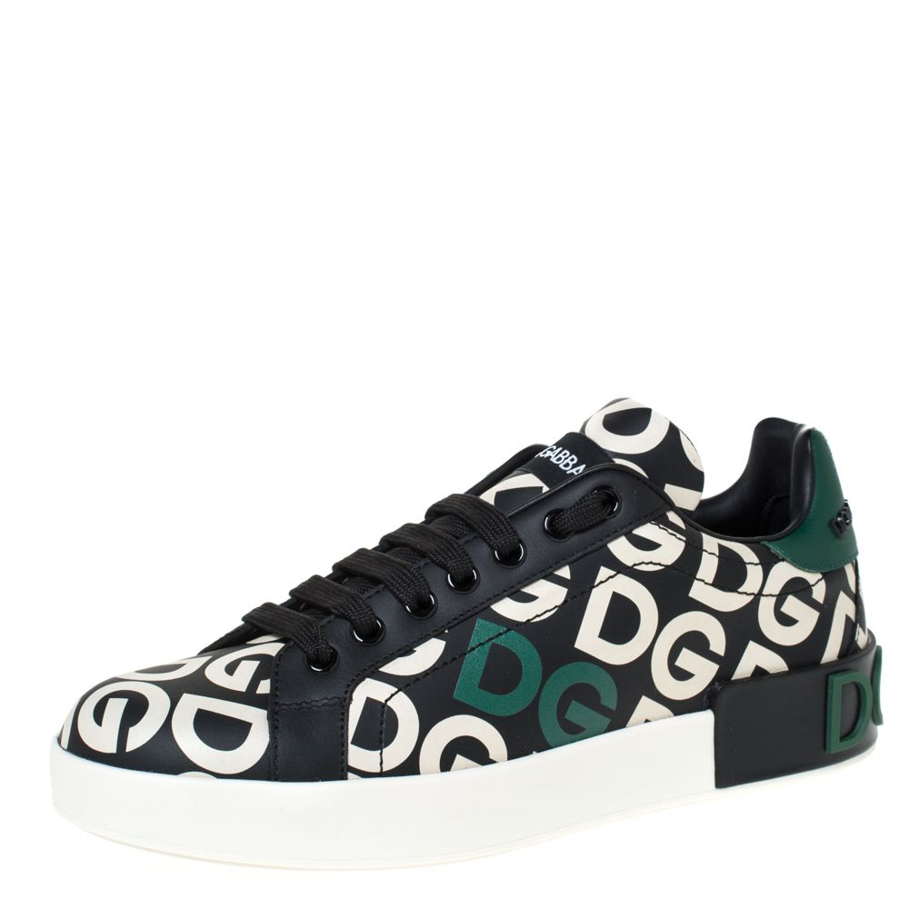 Dolce & Gabbana Multicolor DG Mania Print Leather Low-Top Sneakers Size 37