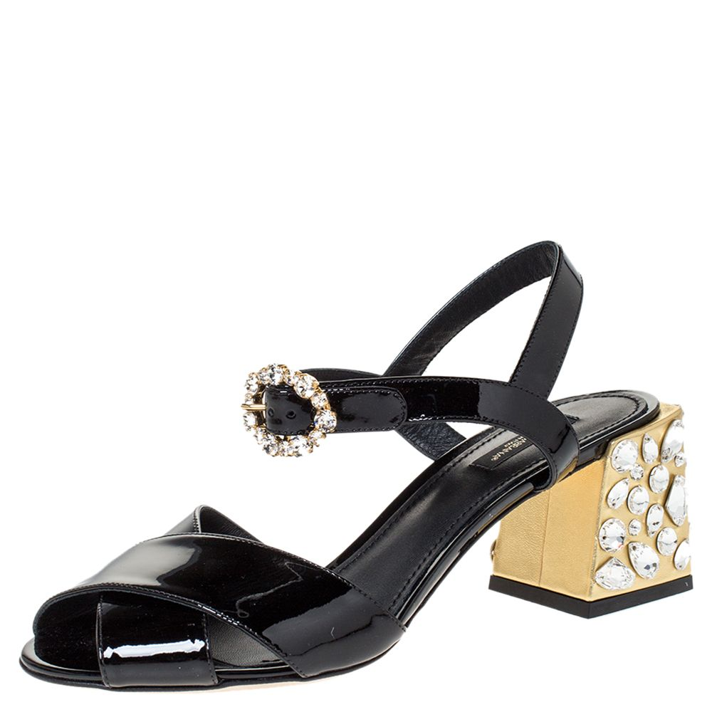 Dolce & Gabbana Black Patent Leather Jewel Block Heel Sandals Size 39