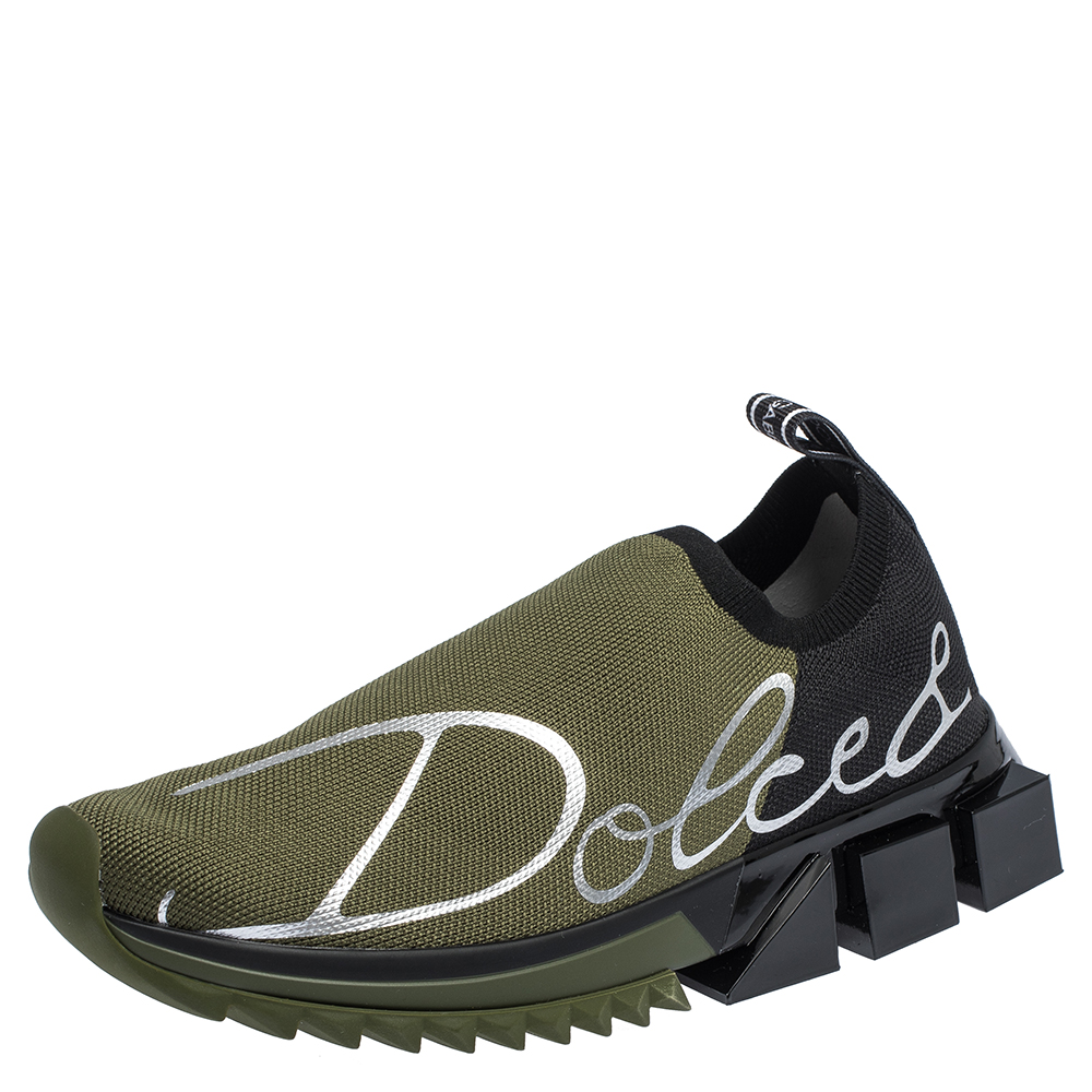 Dolce & Gabbana Military Green/Black Stretch Jersey Logo Print Slip On Sneakers Size 37