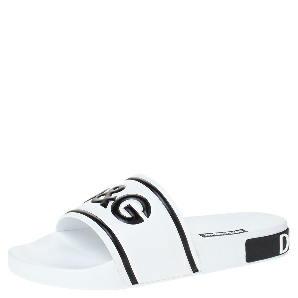 Pre-owned Dolce & Gabbana White Leather And Rubber Slides Size 41