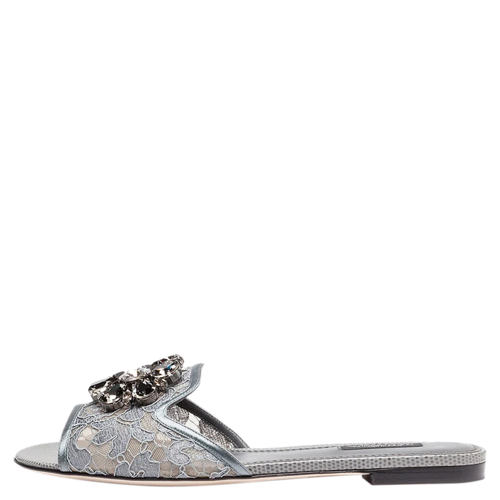 Pre-owned Dolce & Gabbana Grey Lace Jeweled Embellishment Flat Slides Size 40.5