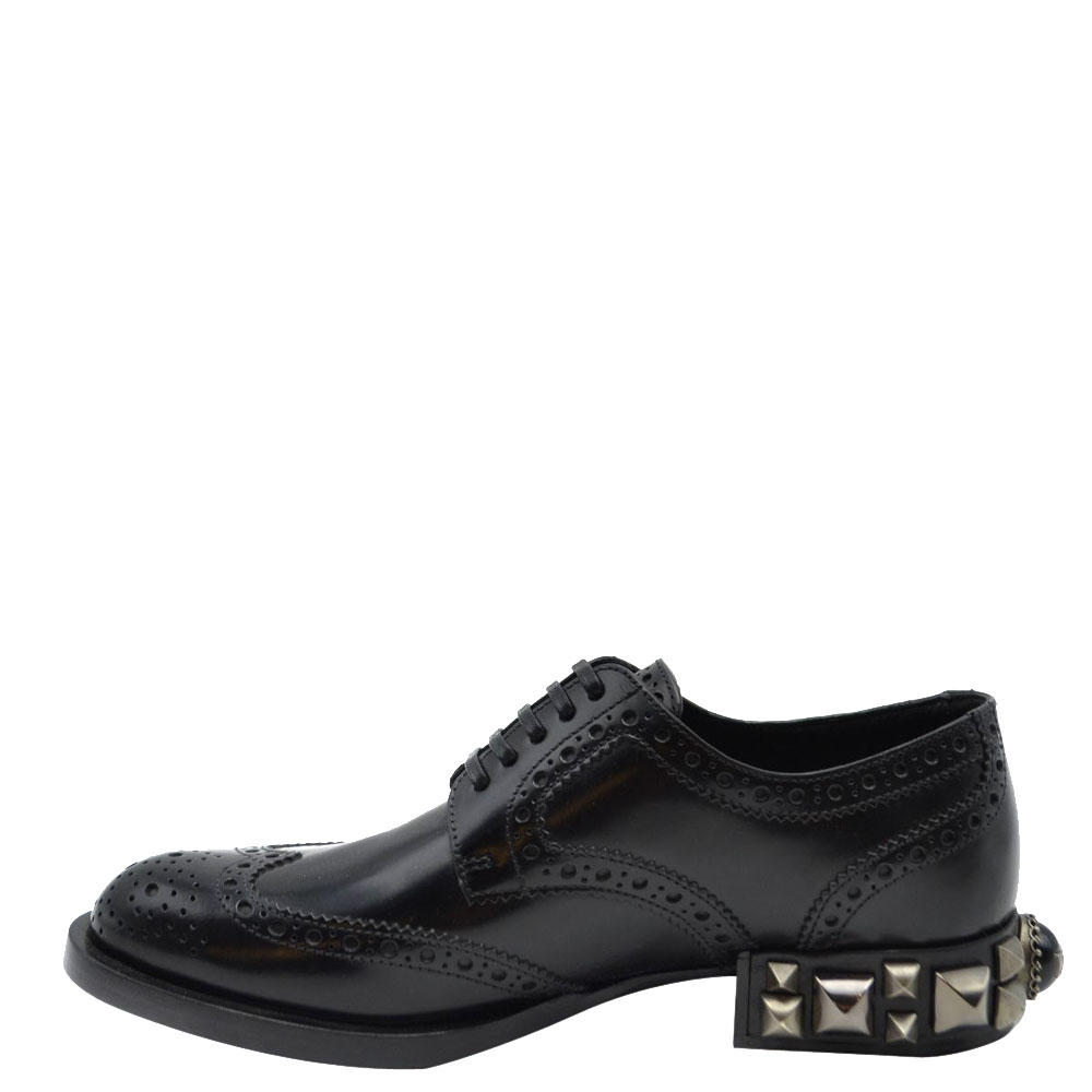 Pre-owned Dolce & Gabbana Dolce And Gabbana Black Leather Detail Derby Shoes Size Eu 39