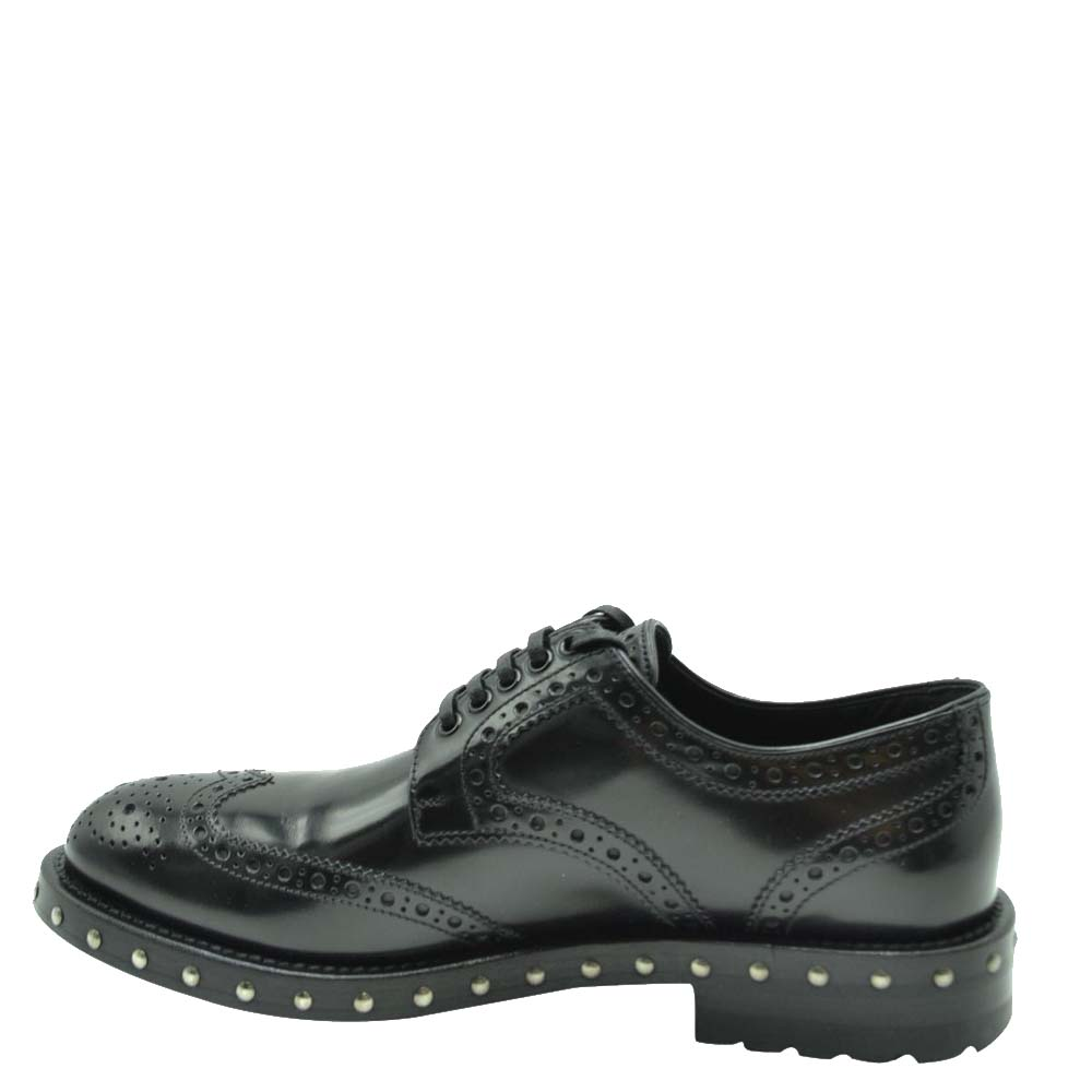 Pre-owned Dolce & Gabbana Black Leather Studded Detail Derby Shoes Size Eu 38.5