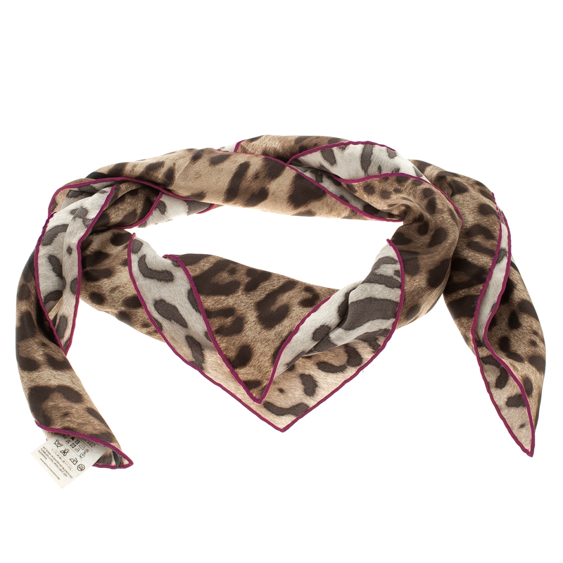 7fb774d3d1ee7d Buy Dolce and Gabbana Leopard Print Contrast Edge Silk Square Scarf ...