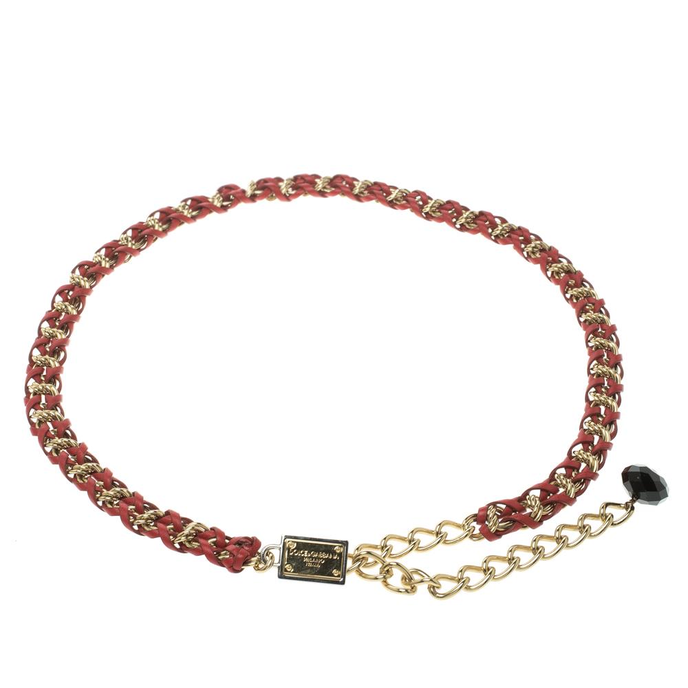 Купить со скидкой Dolce and Gabbana Red Braided Leather Gold Tone Chain Belt