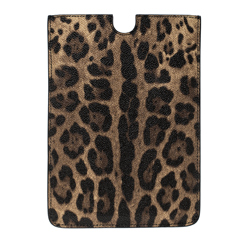Купить со скидкой Dolce and Gabbana Brown Leopard Print Leather iPad Mini Case