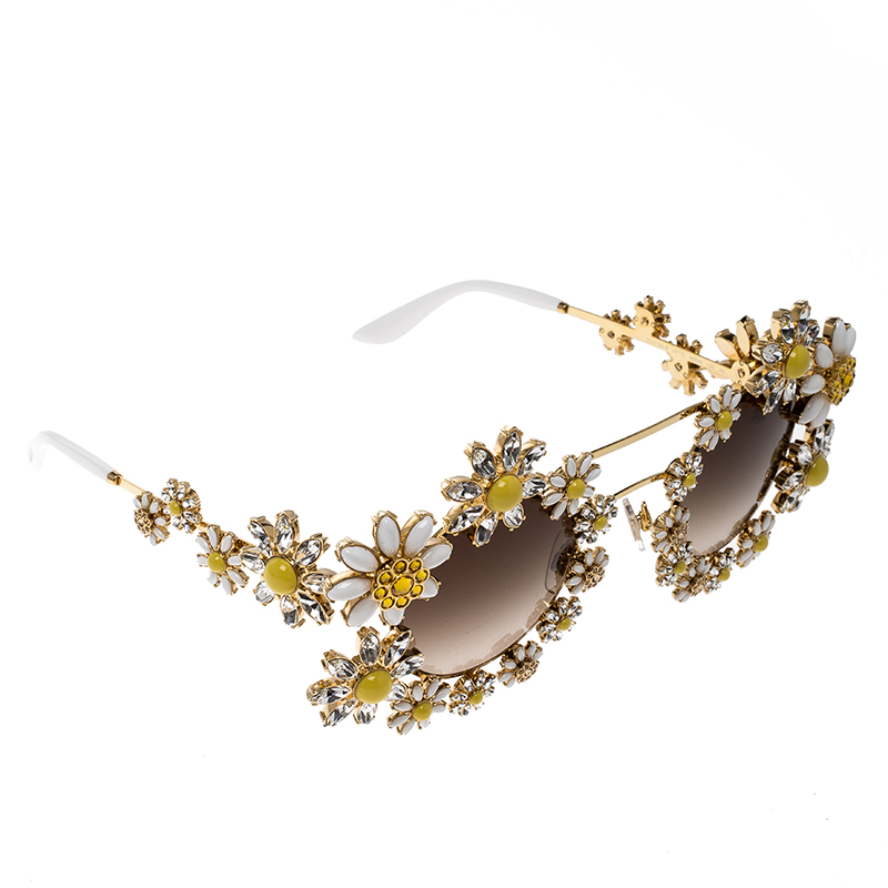 f3b651e89af0 ... Dolce and Gabbana Gold Tone/Brown Gradient DG2153 -B Limited Edition  Daisy Sunglasses. nextprev. prevnext