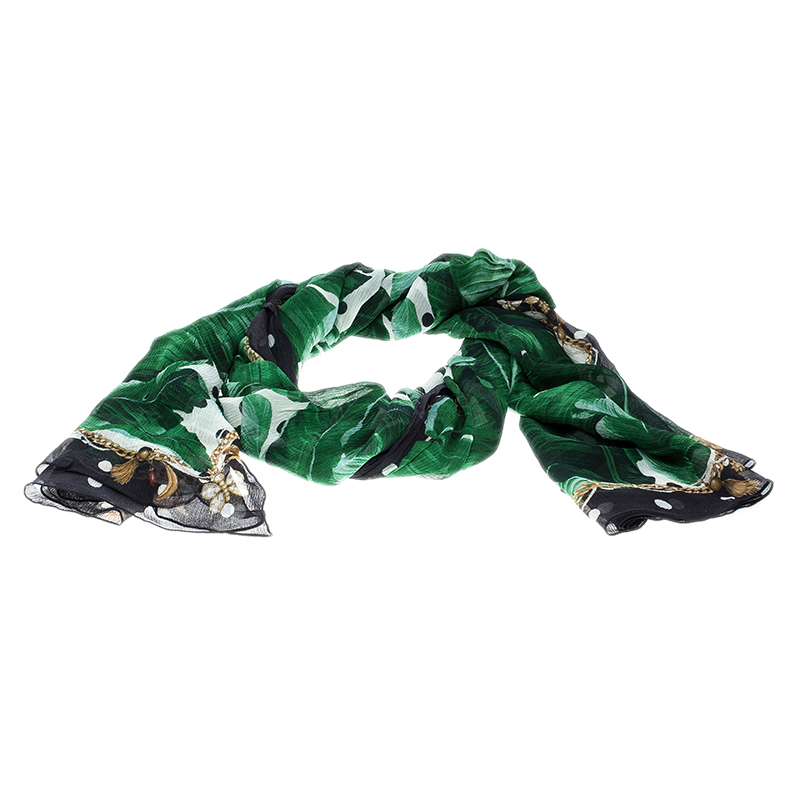 969f72d1 ... Dolce and Gabbana Banana Leaf Print Crinkled Silk Chiffon Scarf.  nextprev. prevnext