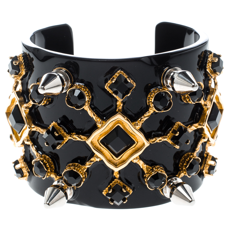 Dolce and Gabbana Black Crystal Embellished Spike Two Tone Open Cuff Bracelet