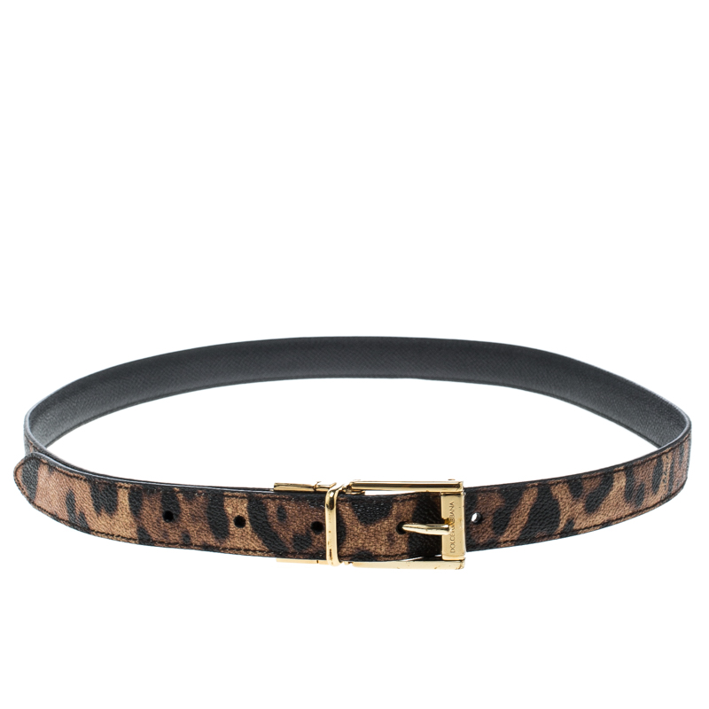 Купить со скидкой Dolce and Gabbana Brown Leopard Print Leather Belt 85cm