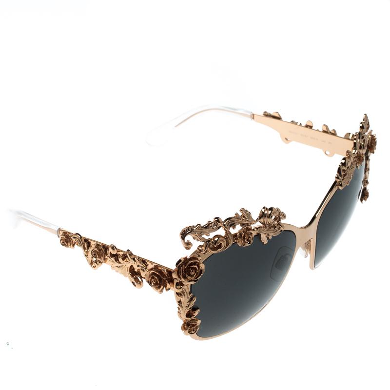 5aaddae228fa2 ... Dolce and Gabbana Gold Black DG2121 Baroque Butterfly Sunglasses.  nextprev. prevnext