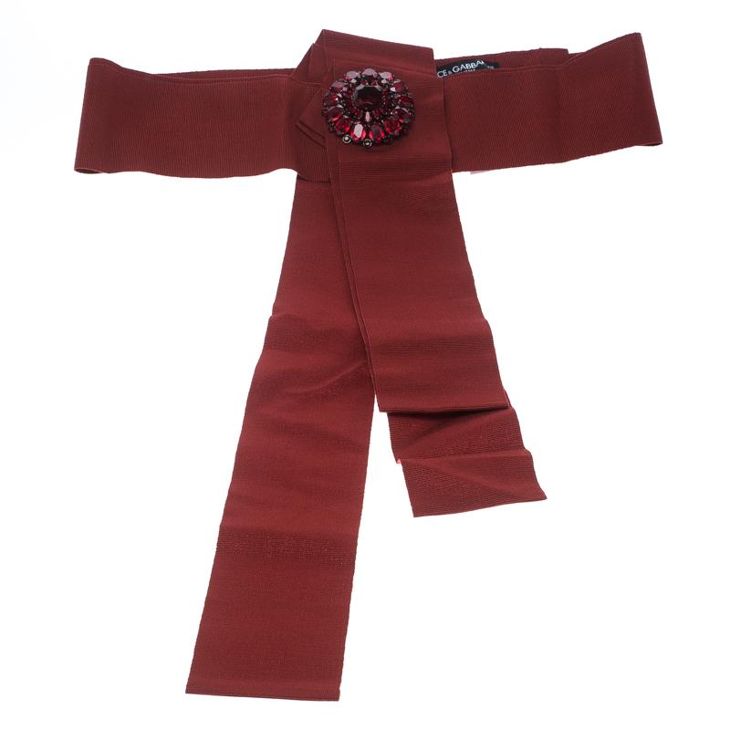 Купить со скидкой Dolce and Gabbana Red Grosgrain Embellished Bow Waist Belt Size 44