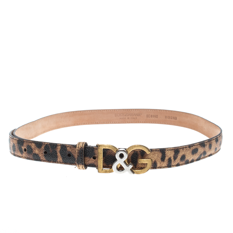 43ea0732a7 Dolce & Gabbana Brown Leopard Print Leather D&G Buckle Belt 80cm