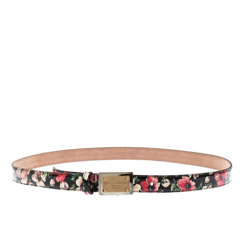 Dolce & Gabbana Multicolor Floral Print Patent Leather Logo Plaque Belt Size 90CM