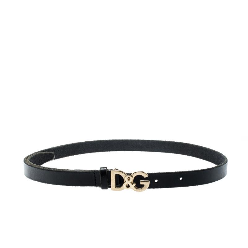 Dolce And Gabbana Black Leather Logo Belt 90CM