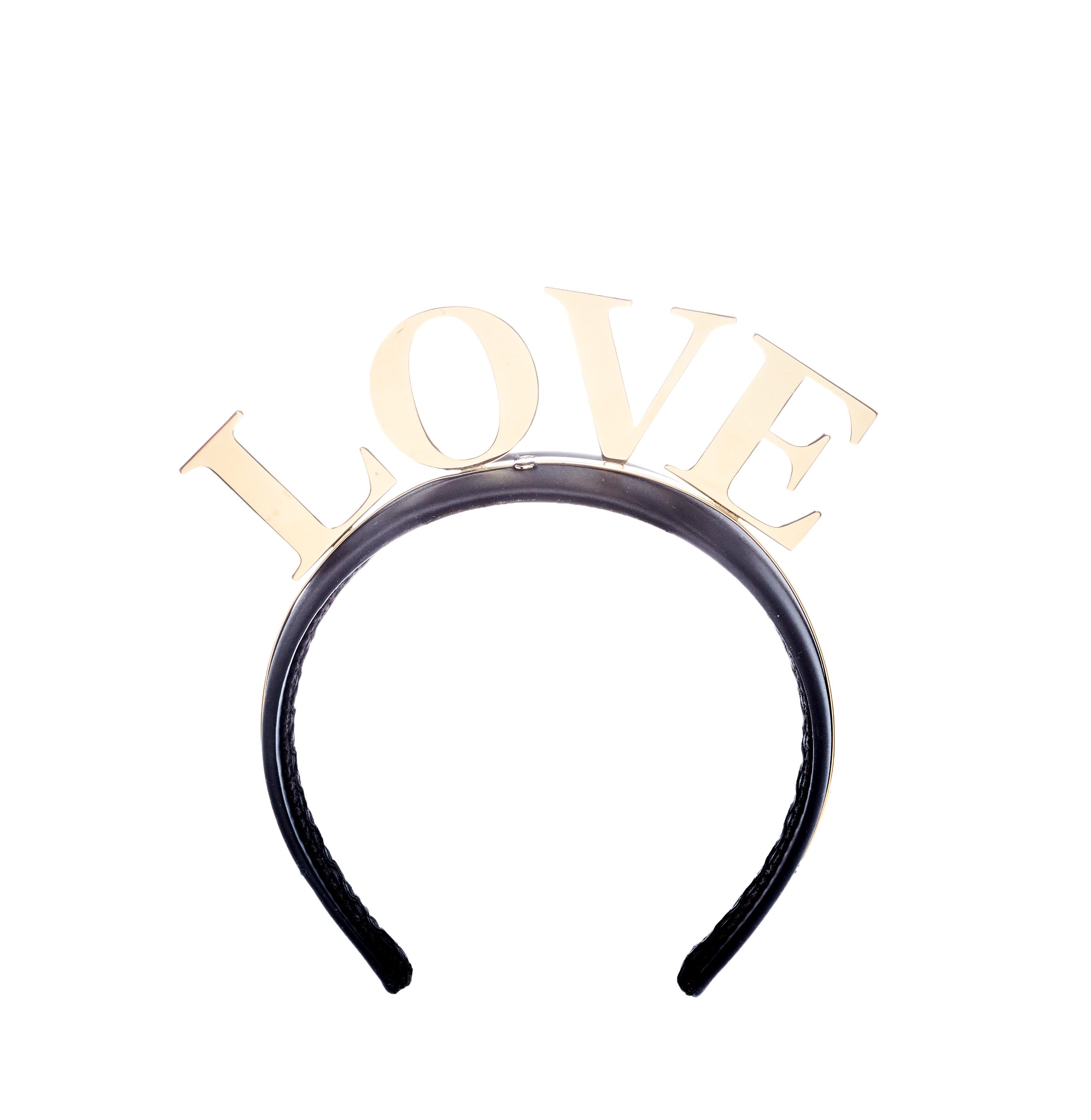 Dolce and Gabbana Love Black Gold Tone Headband