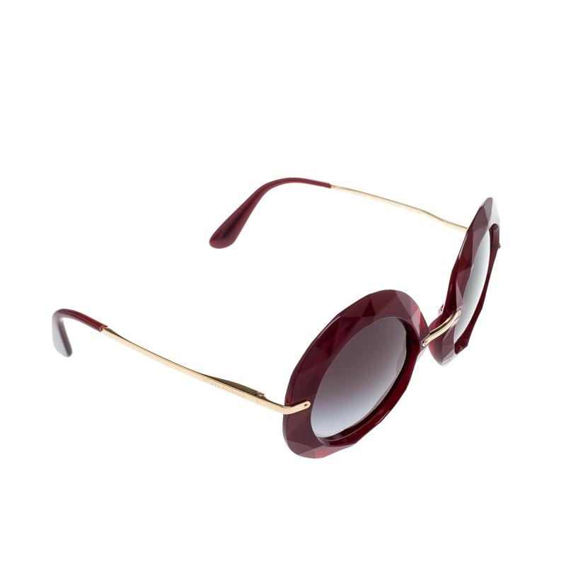 Dolce & Gabbana Red/ Black Gradient DG6105 Oversized Round Sunglasses