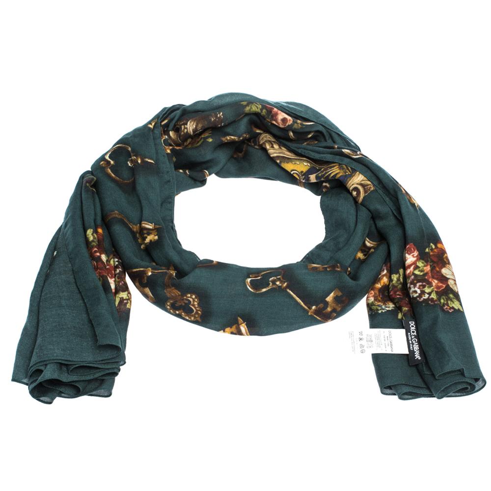 Dolce & Gabbana Green Floral & Key Print Cashmere Blend Scarf