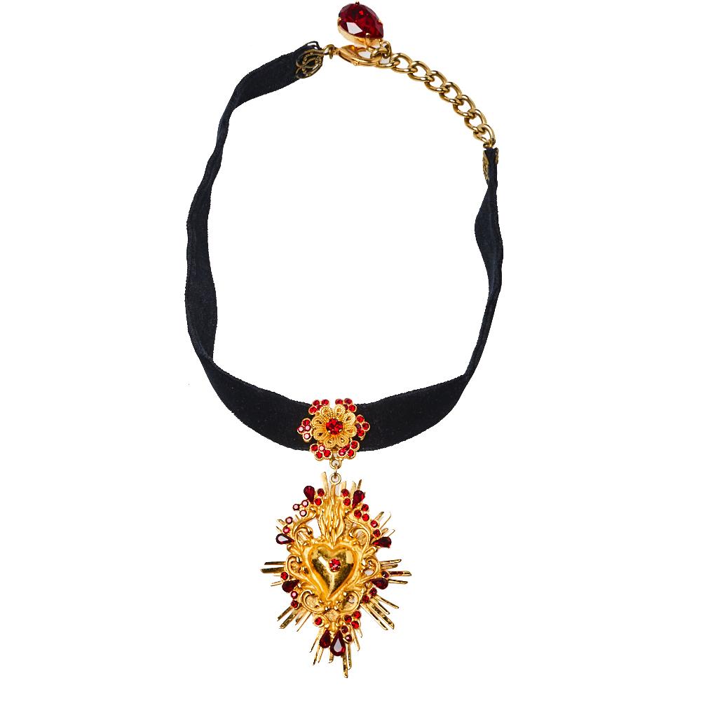 Pre-owned Dolce & Gabbana Black Velvet Band Crystal Heart Pendant Choker