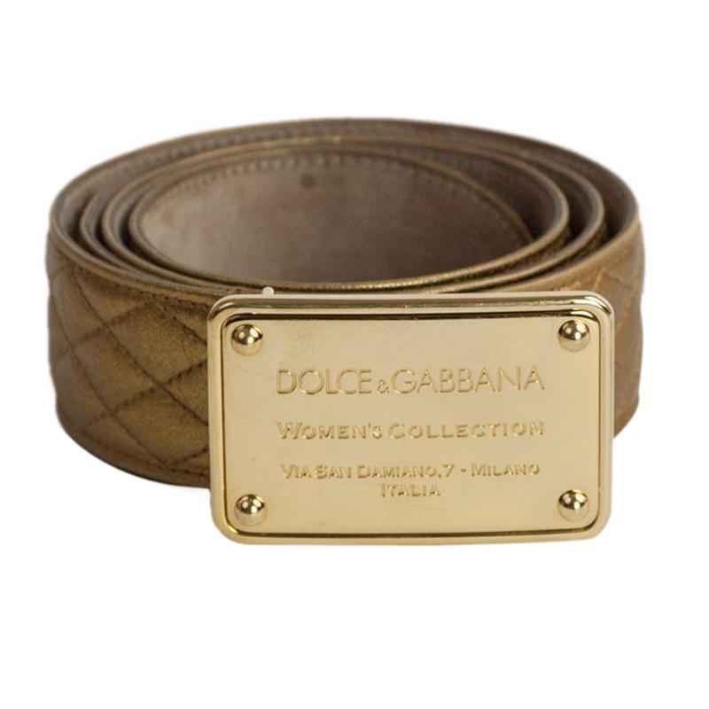 Dolce and Gabbana Bronze Metallic Leather Logo Plaque Belt 95CM