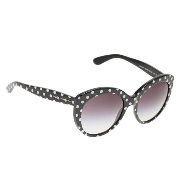 Dolce and Gabbana Black Polka Dot Cat Eye Sunglasses
