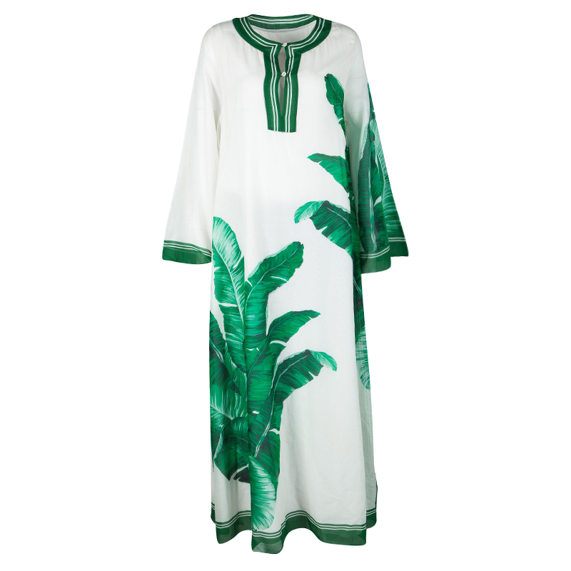 Dolce and Gabbana White Banana Leaf Print Kaftan M