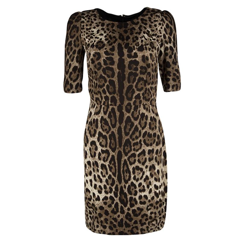 Dolce and Gabbana Brown Leopard Print Short Sleeve Sheath Dress S