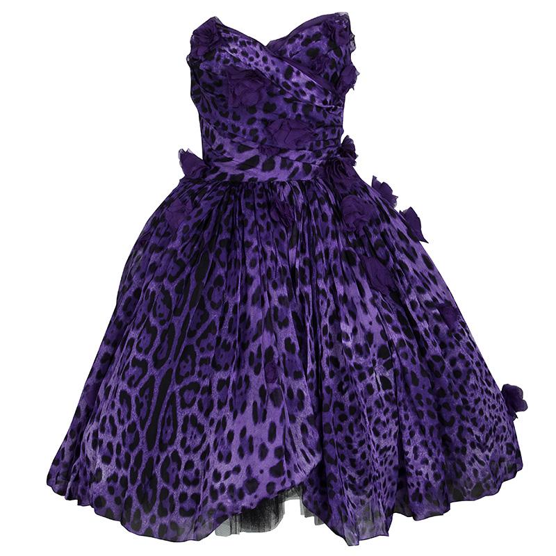 022601c99802 Buy Dolce and Gabbana Purple Leopard Print Floral Applique Strapless ...