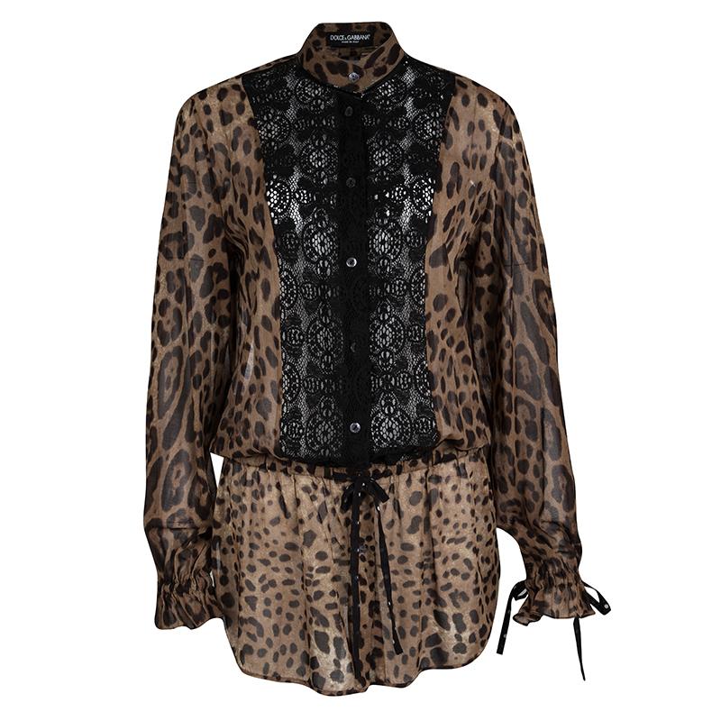2698cb169ca9 ... Dolce and Gabbana Brown Animal Print Lace Insert Waist Tie Detail Shirt  S. nextprev. prevnext
