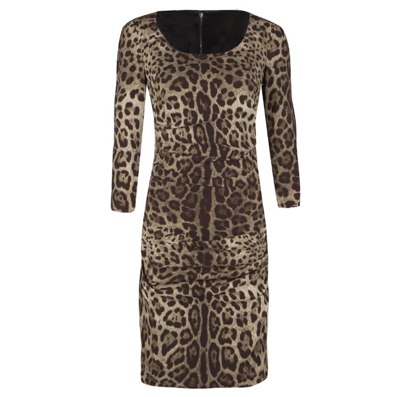 5da96ef21488e Buy Dolce and Gabbana Animal Print Ruched Silk Long Sleeve Dress M ...