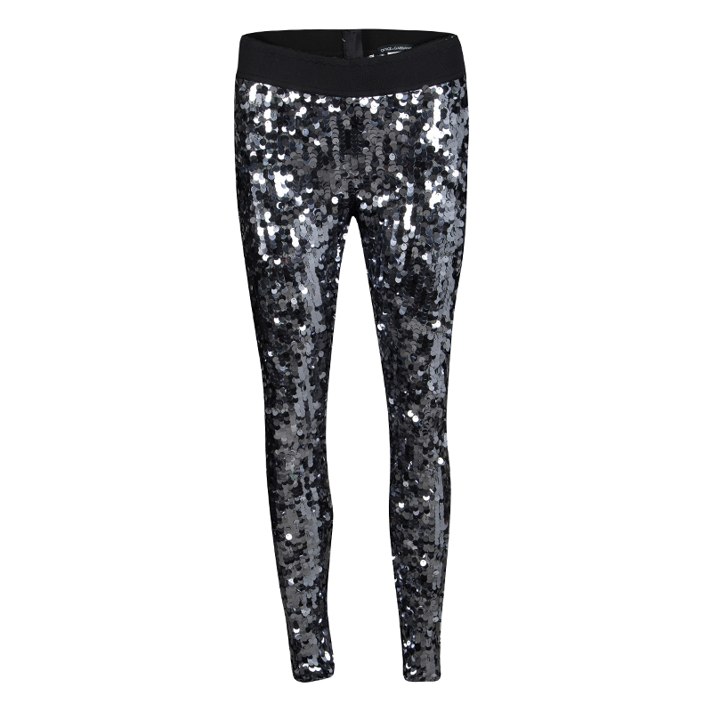 1bb1edc8b78905 ... Dolce and Gabbana Silver Sequin Paillette Embellished Leggings M.  nextprev. prevnext